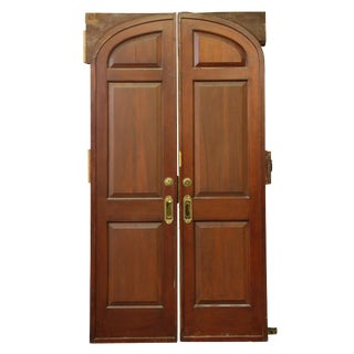 Arched Double Entry Mahogany Pocket Doors - a Pair