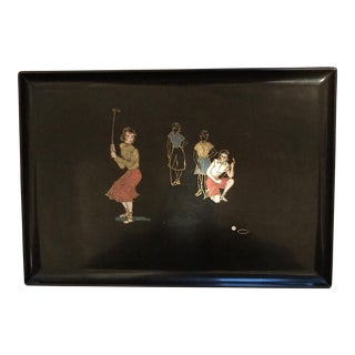 Vintage Couroc of Monterey Lady Golfers Serving Tray