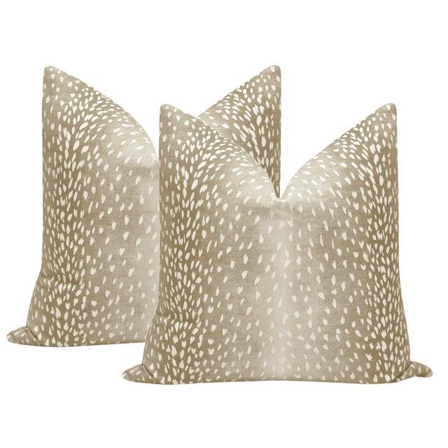 "22"" Natural Antelope Linen Print Pillows - a Pair For Sale"