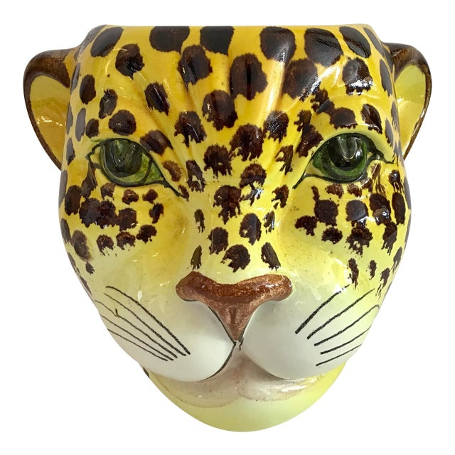 1960s Yellow and Brown Spotted Leopard Cache Pot For Sale