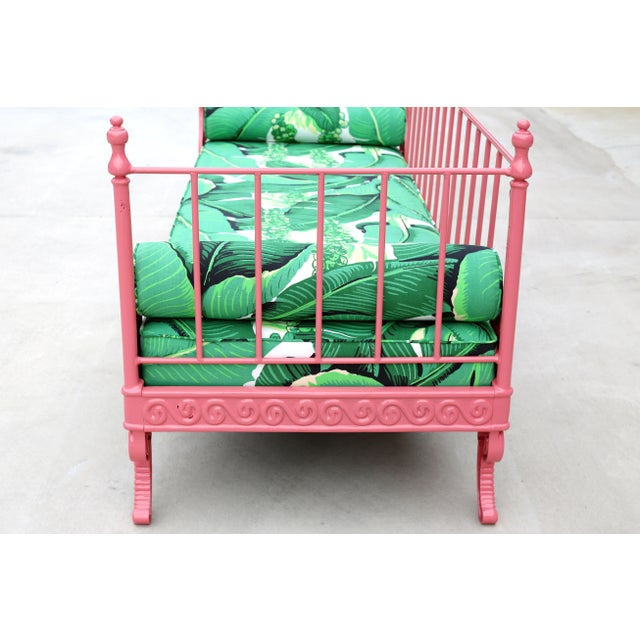 Green Blush Antique French Iron Daybed - Professionally Restored W/ Dorothy Draper Fabric For Sale - Image 8 of 12