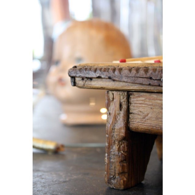 Traditional Mini Hand Carved Wooden Stool For Sale - Image 3 of 3