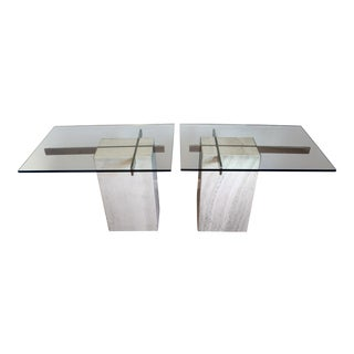 1980s Mid-Century Modern Travertine Brass Cross Side Tables - a Pair For Sale
