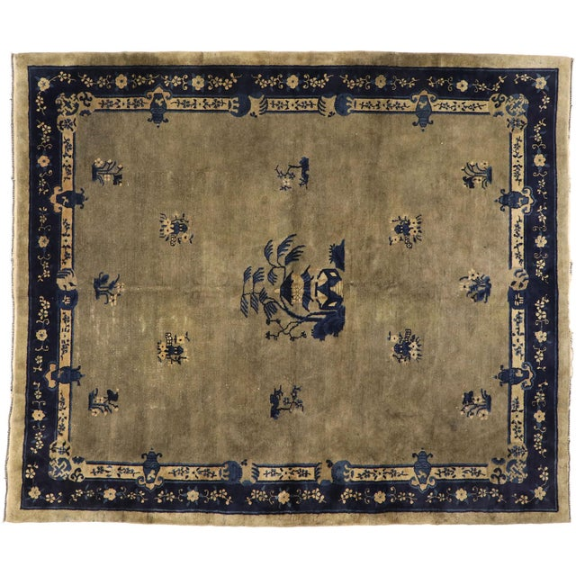 Early 20th Century Antique Chinese Peking Rug With Pagoda Design 08'03 X 09'07 For Sale - Image 9 of 10