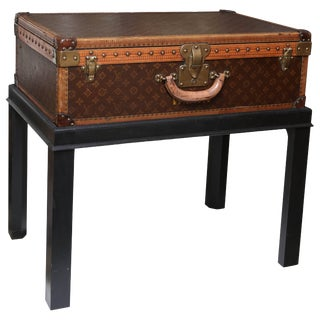 Vintage Louis Vuitton Hard Cover Suitcase Mounted as a Table For Sale