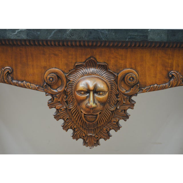 Late 20th Century Maitland Smith Carved Lion Head Console Table For Sale - Image 5 of 13