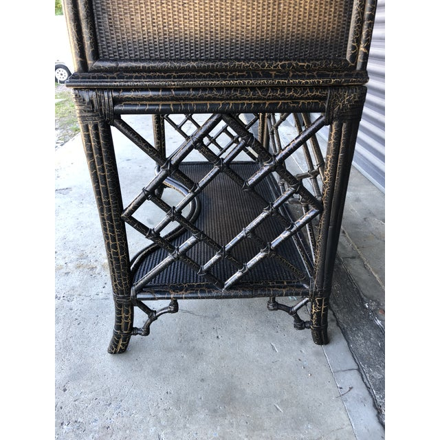Chinoiserie Rattan Pagoda Style Tv Cabinet Armoire For Sale - Image 4 of 13