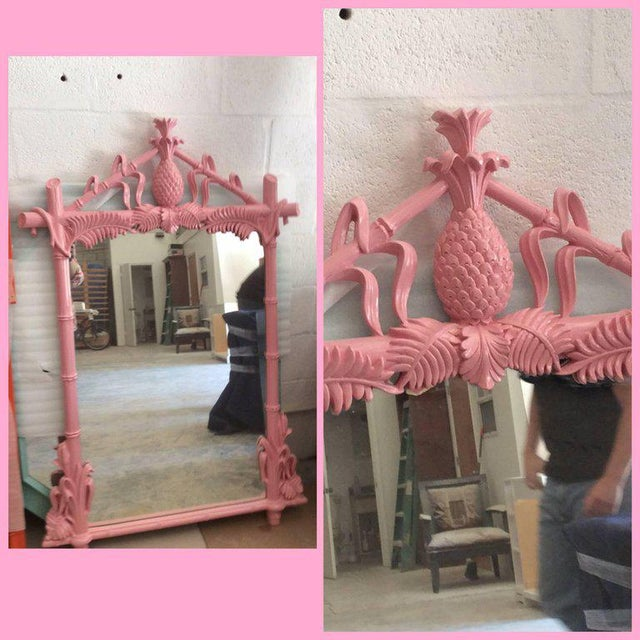 Gampel & Stoll Lacquered Flamingo Pink Faux Bamboo Wall Mirror - Image 3 of 10
