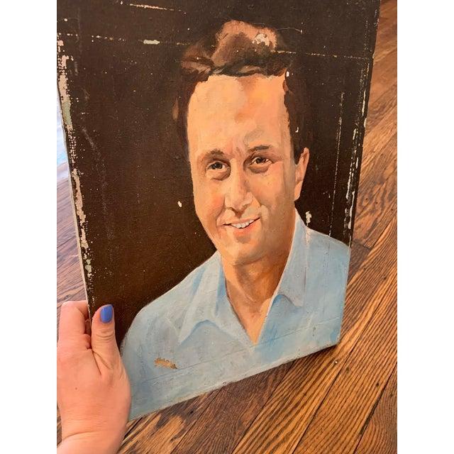 1940s Vintage Mr. Man Oil Painting, Stranger Art For Sale - Image 5 of 6