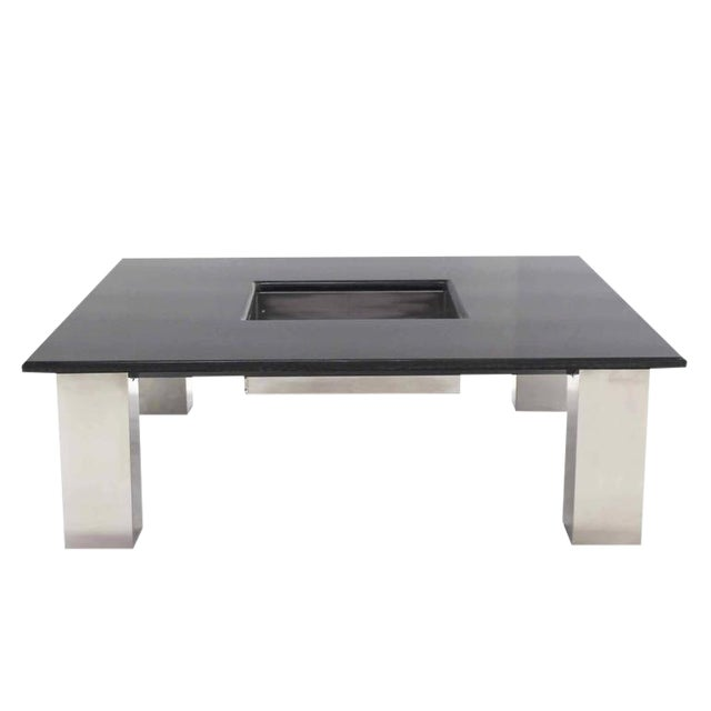 Mid-Century Modern Square Granite Top Coffee Table For Sale - Image 11 of 11