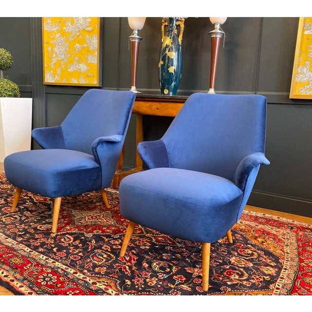 1950s 1950s Vintage Gio Ponti Style Midcentury Armchairs- a Pair For Sale - Image 5 of 5