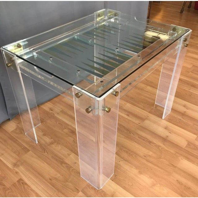 Contemporary Lucite and Brass Backgammon Game Table in the Manner of Charles Jones For Sale - Image 3 of 13