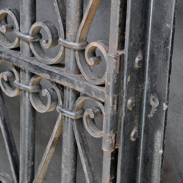 Vintage Industrial Wrought Iron Metal Arts Architectural Garden Gate Door For Sale In Washington DC - Image 6 of 7