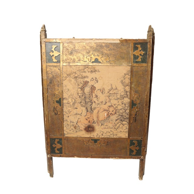 Antique Tapestry Fire Screen For Sale