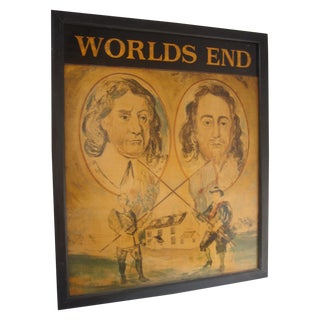 Worlds End Painted on Wood, English Pub Sign For Sale