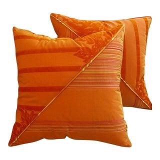 DWM | MALOOS Dia Orange Flocked Pillows - A Pair For Sale