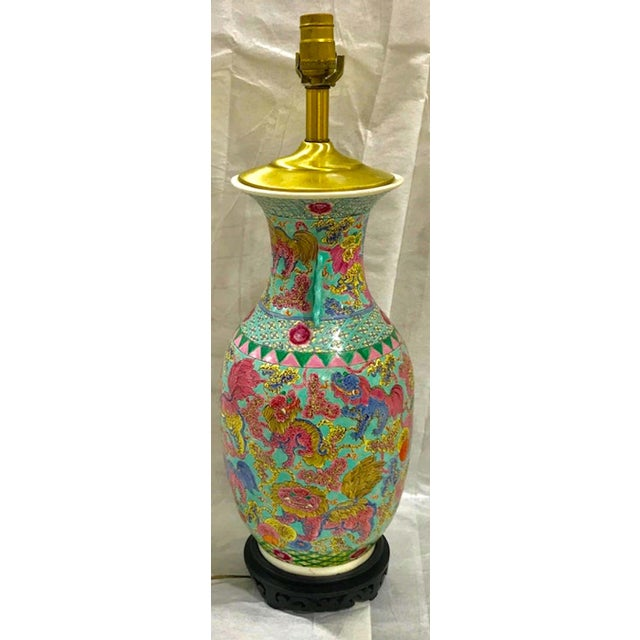 Exquisite Chinese Famille Rose Foo Dog Motif Vase, Now as a Lamp For Sale - Image 9 of 10