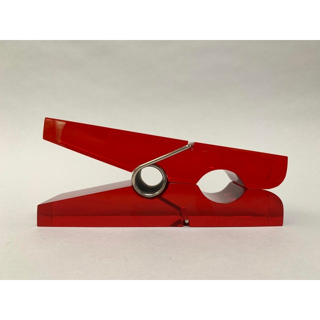 Oversized Red Lucite Clothespin Paperweight or Paper Holder For Sale In New York - Image 6 of 13