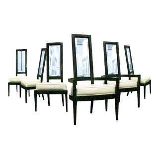 Charles Hollis Jones Green Malachite & Lucite Dining Chairs - Set of 6
