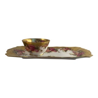 Late 20th Century Royal Chelsea Golden Rose Bone China Sandwich Plate and Sugar Bowl Set - Set of 2 For Sale