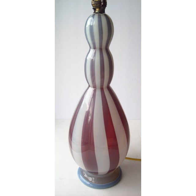 Amazing Murano glass work in this Barovier and Toso lamp base. Working condition, vintage wiring.