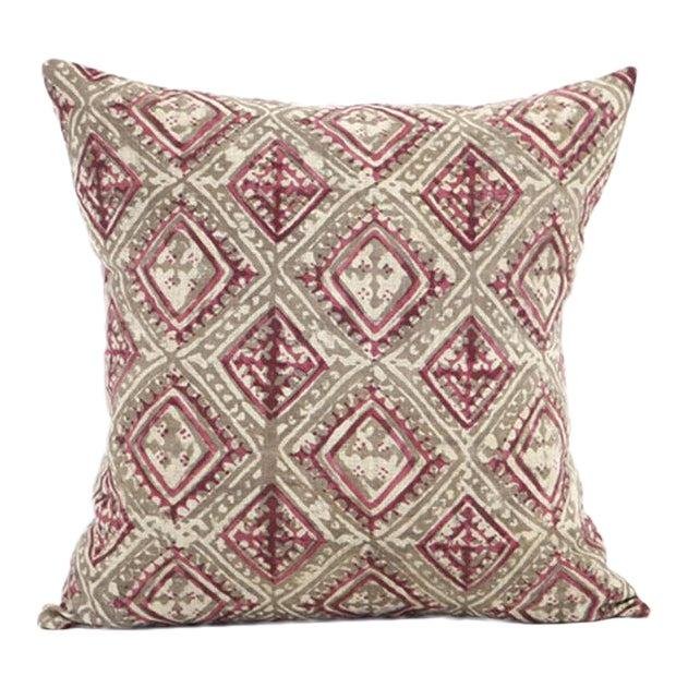 Block Printed Havana Pink Kashish Pillow - Image 1 of 3