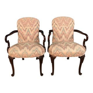 1970s Colorful Dark Wood Armchairs - A Pair For Sale