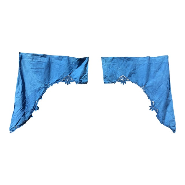 Vintage Linen Indigo Dyed Cafe Curtain Set - A Pair - Image 1 of 7