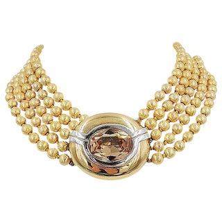 1980s Ciner Faux-Topaz Torsade Necklace For Sale