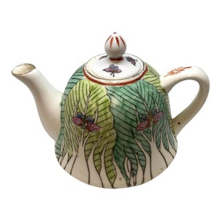 Antique Chinese Porcelain Hand Painted Tobacco Leaf Teapot For Sale