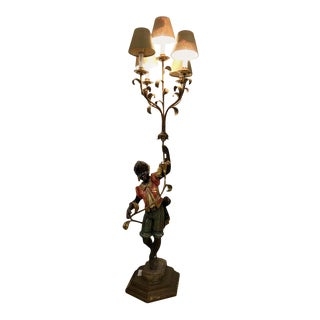 Wood Nubian Paint Decorated Standing or Table Lamp For Sale