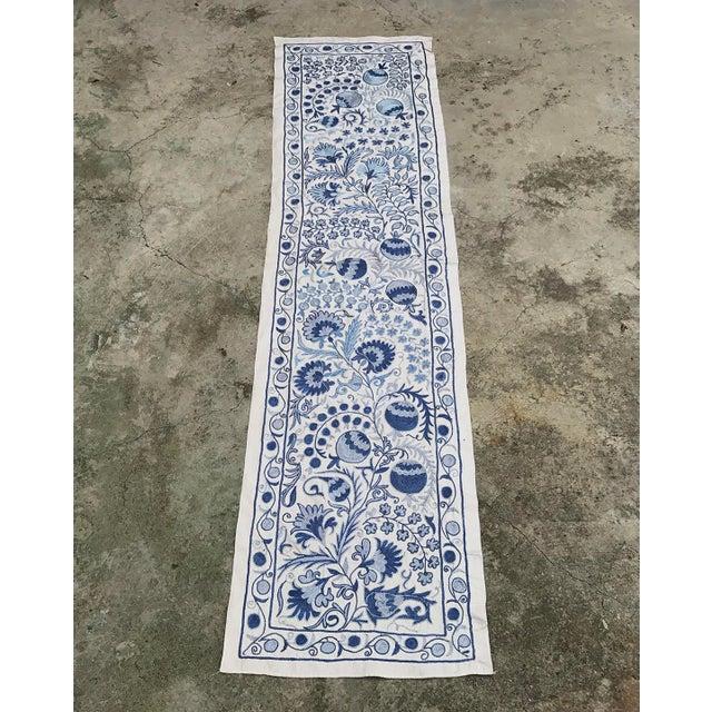 Blue Suzani Silk Table Runner - Image 4 of 6