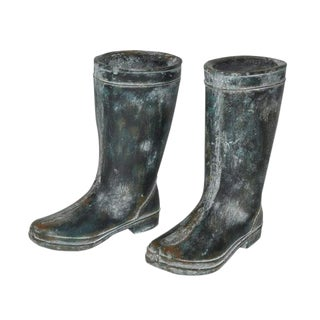 Rain Boots Cement Statues - A Pair For Sale