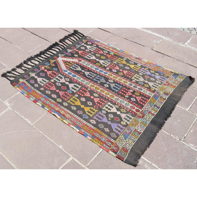 "Islamic Handwoven Turkish Kilim Area Rug Colorful Petite Braided Kilim Wall Decor- 3'5"" X 4'9"" For Sale - Image 3 of 8"