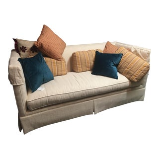 Drexel Heritage White Sofa & Pillows For Sale