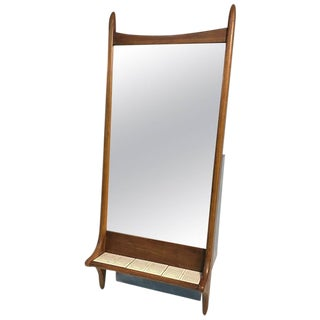 Sculptural Danish Modern Wooden Mirror With Tile Shelf For Sale