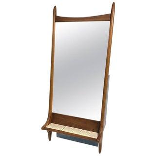 Sculptural Danish Modern Wooden Mirror With Tile Shelf
