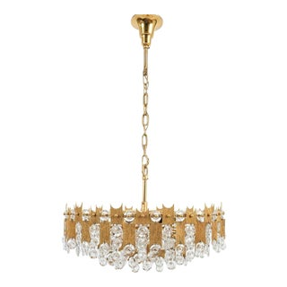 """Delicate 20"""" Palwa Glass and Brass Chandelier, Lamp 1960 For Sale"""