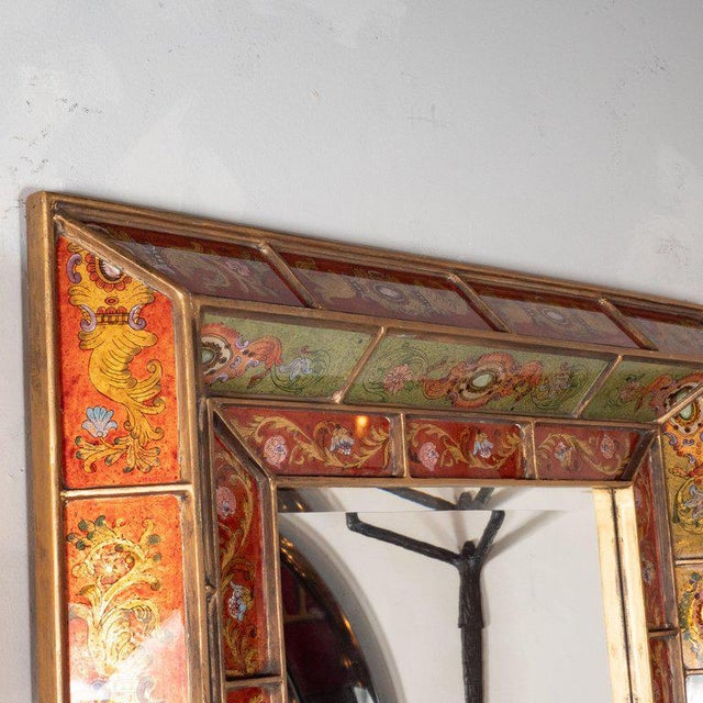 1950s Mid-Century Modern Reverse Églomisé Gilded Venetian Shadowbox Mirror For Sale - Image 5 of 6