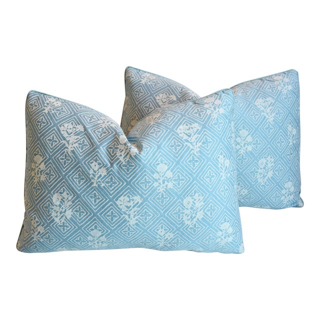 """Blue & White Italian Mariano Fortuny Feather/Down Pillows 22"""" X 16"""" - Pair For Sale"""