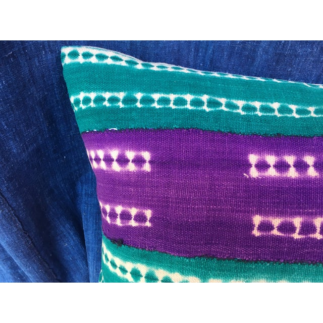 Purle and Teal African Mud Cloth Pillow - Image 3 of 8