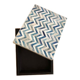 Blue and White Horn Chevron Decorative Box For Sale