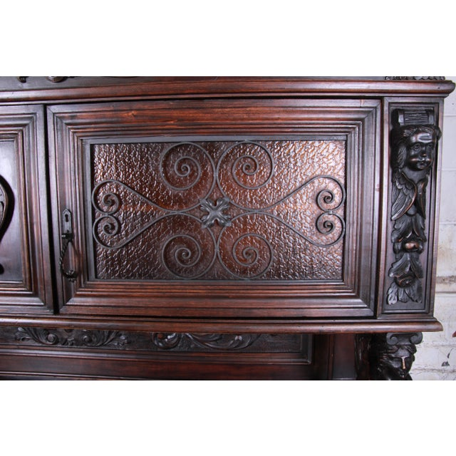 19th Century French Black Forest Carved Walnut Sideboard or Bar Cabinet For Sale - Image 10 of 13