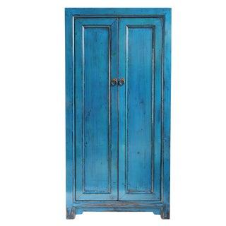 Cobalt Blue Lacquer Armoire For Sale