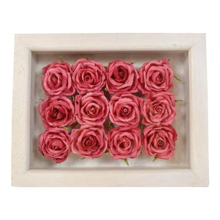 Handmade a Dozen Roses in Frame Wall Hanging For Sale