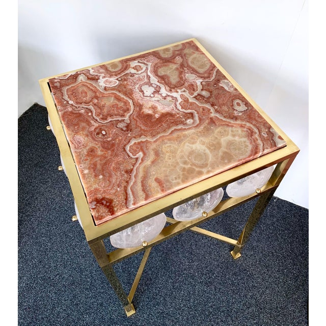 Red Contemporary Pair of Brass Side Table Rock Cristal Onix, Italy For Sale - Image 8 of 11