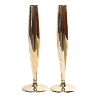 Art Deco Dirigold Goldware Bud Vases - A Pair For Sale