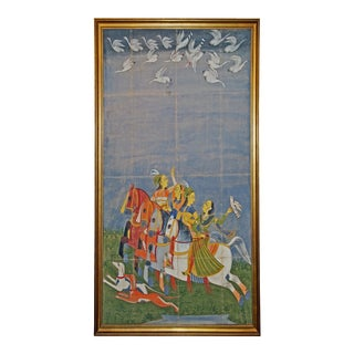 Early 20th Century Large India Hunt Scene Oil Painting on Fabric For Sale
