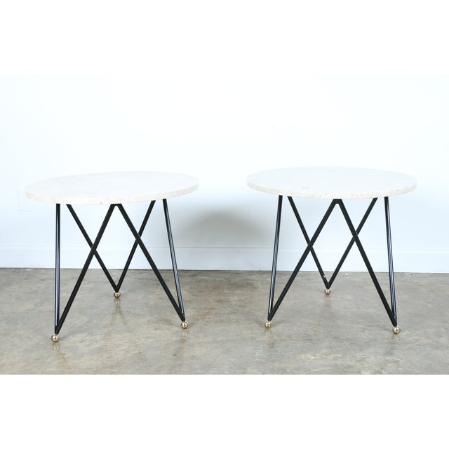 Wrought Iron Marble Top Side Tables - A Pair - Image 3 of 10
