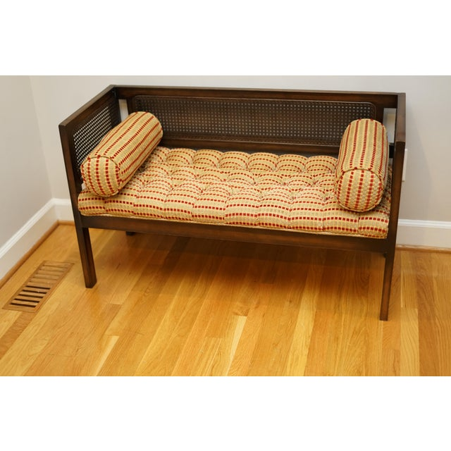 Mid-Century Modern Mid-Century Modern Lewitte's Cane Settee For Sale - Image 3 of 11